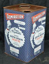 Admiration Food Soya Bean Salad Oil Tin 5 gal Metal Advertising Supreme N.J. VTG