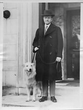 1927 Press Photo President Calvin Coolidge with white collie Rob Roy