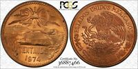 1974-Mo MEXICO 20 CENTAVOS PCGS MS65RD BEAUTIFUL COIN! GREAT DETAILS!