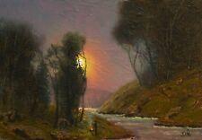 original oil painting landscape signed on canvas vintage antique style 3451 COLE