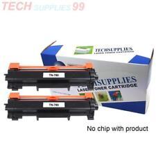 2 pk TN760-NoChip Toner Cartridge for Brother MFC-L2710DW MFC-L2750DW Printer