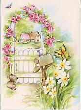 VINTAGE HOUSE CAT KITTEN MAILBOX WHITE DAFFODILS GARDEN FLOWERS CARD PRINT