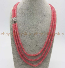 Natural 3Rows 2x4mm Faceted Pink Rhodochrosite Rondell Beads Necklaces 17-19' AA