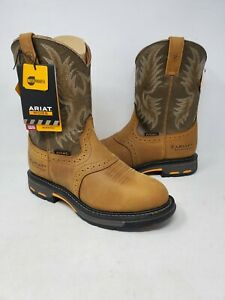 NEW! Ariat Men's Work Hog H20 Pull On Boot Aged Bark/Army Green #10008633