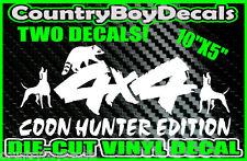 2 COON HUNTER 4X4 Vinyl Decal Sticker Raccoon Hunter Dogs Deer Bow Truck Car Mud