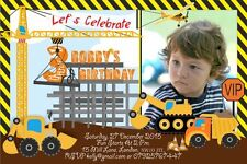 10 x Personalised Children Photo Birthday Invitations or Thank you Cards Diggers