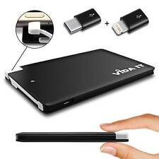 Slim Pocket Sized Travel Power Bank Battery Charger + iPhone and Type-C adapters