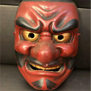 Japanese Handmade Oni mask kyougen kagura Hannya demon Noh Kimetsu F/S