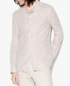 John Varvatos Mens Shirt Beige Size Medium M Button Down Linen Collar $148- 999