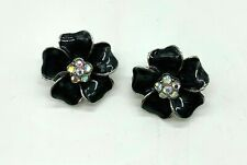 Black Enamel Flower with Crystal Centre Silver Plated Clip On Earrings New