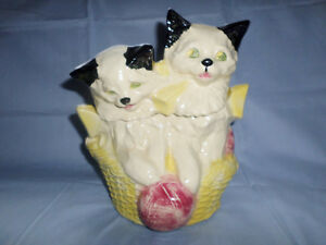 COOKIE JAR McCOY RARE KITTENS IN A BASKET COOKIE JAR USA ANTIIQUE
