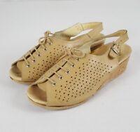 Worishofer Wos Shoes Wedge EU 39 US 8.5 Beige Leather Lace-up Slingback Peep Toe