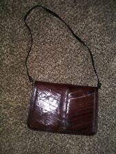 Vintage Eel Skin Shoulder Bah Chocolate Brown Color Leather lining Purse