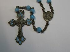 """† UNIQUE VINTAGE HAND PAINTED CROSS """"FATIMA"""" BLUE DOUBLE RING CAP GLASS ROSARY †"""