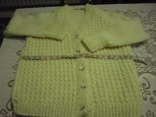 Hand knitted v neck chunky cardigan in aran colour 40 inch chest