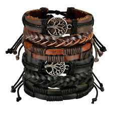 Braided Leather Men Women Rope Bracelet Set Wristband Bangle Tribal  (6 pcs)