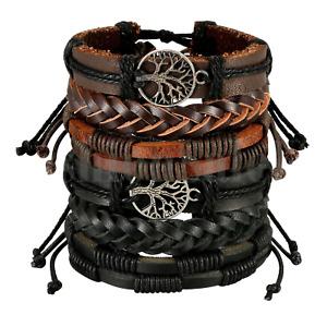 Braided Leather Men Women Rope Bracelet Set Wristband Bangle Tribal  (6 pcs)