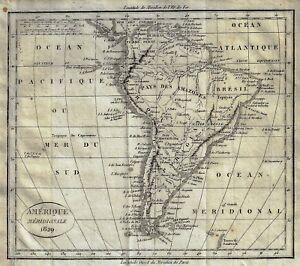 """Dufour's Fine Antique Map """"AMERIQUE MERIDIONALE, 1829"""" - Copper Engraving"""