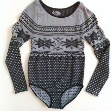 Free People Bodysuit Black Alpine Polka Dot Long Sleeve XS / S Body Suit Leotard