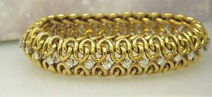 Authentic Antique Cartier Diamond Bracelet Cr.1920 in 18K Solid Yellow Gold