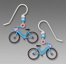 Sienna Sky Blue & Pink Bicycle EARRINGS Ladies Bike Silver Earwires - Gift Boxed