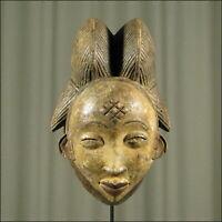 59458) Afrikanische Punu Holz Maske Gabun Afrika KUNST