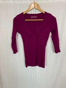 Victoria's Secret Tee Shop Women's Purple 3/4 Sleeve V Neck Shirt Casual SMALL