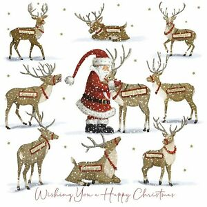 Charity Christmas Cards Pack of 10 Santa Reindeer Rudolph Cupid Dasher & Friends