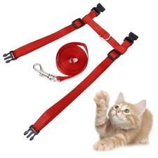Red Adjustable Pet Cat Kitten Nylon Collar Leash Harness Lead Walking Strap