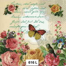 TWO (2) Paper Luncheon Napkins for Decoupage (616)  FLORAL, BUTTERFLY, ROSES