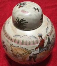 Fox Hunt Hunting Chinese Ginger Jar