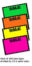 Multicolor Single Sided Sale Large Sign Card 7 H x 11 W Inches - Pack of 100