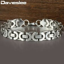 11mm Stainless Steel Bracelet Mens Silver Tone Flat Byzantine Link Chain Bangle