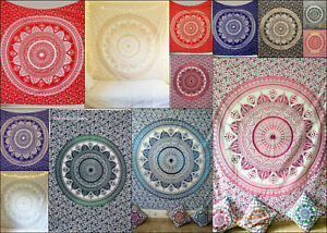 Mandala Flower Design Cotton Bedspread Twin Queen Wall Hanging Poster Tapestry