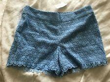 NWT Ann Taylor LOFT Periwinkle Blue Riviera Short Cotton Lined Lace Shorts sz 8