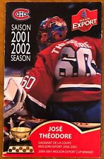 JOSE THEODORE ON THE COVER, MONTREAL CANADIENS 2001-2002 SEASON SCHEDULE