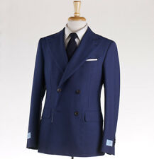 NWT $2495 BELVEST Blue Basketweave Check Wool-Mohair Suit 40 R Double-Breasted