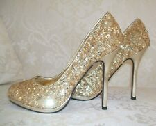 SIZE 3 36 GOLD SEQUIN  METALLIC SPARKLY HIGH HEEL PARTY COURT SHOES BNWB