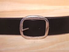 Silver Oval 2 Inch 50mm Wide Leather Jean Belt Full Grain Quality Waist Size Fit