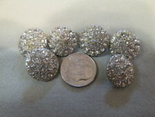 "6 Vintage Round Slightly Domed Rhinestone Metal Buttons Shank Style 5/8"" T4"