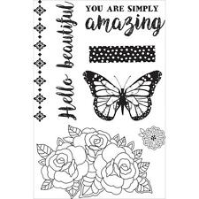 Indigo Skies Collection Clear Unmounted Rubber Stamp Set Kaisercraft CS287 New