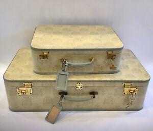Vintage Asprey Suitcases Circa 1967 Hallmarked Silver Vanity Pots PROPS