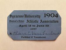 TK 1904 SYRACUSE UNIVERSITY Student Pass Spring Sports Ticket Athletics Baseball