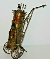 Vintage 1975 ENESCO Imports Brass Golf Bag Caddy Decoration - Made in Hong Kong