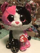 "Ty FLIPPABLES: MALIBU -Pink/Black/White/Gold Sequined Cat 6"" Beanie Boo! *RARE*"