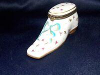 Limoges Porcelain Shoe Trinket Box Hand-painted Marked Peint Main PV Floral
