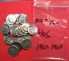 20+Coins+40%25+silver+Kennedy+half+dollars.+1967+-+1969+Mixed.+%28921300%29