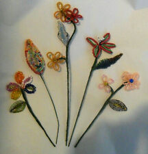 Lot 5 Handmade French Vintage Glass Beaded FLOWERS Stems Sequins Great Condition