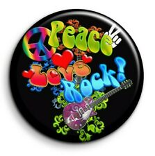 Badge Epingle 38mm Button Pin - Peace and Love - Peace Love Rock