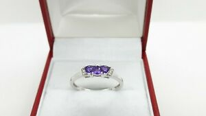 9ct White Gold 0.32ct Natural Amethyst and Diamond Ring